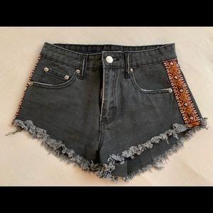 F21 black denim shorts